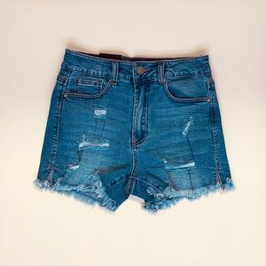 Pants - High waisted distressed shorts